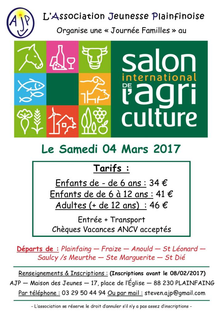 Plainfaing l 39 association jeunesse plainfinoise organise - Tarif parking salon de l agriculture ...