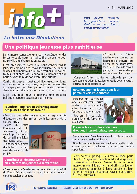 Union Pour Saint-Dié : Info+  La lettre aux Déodatiens…