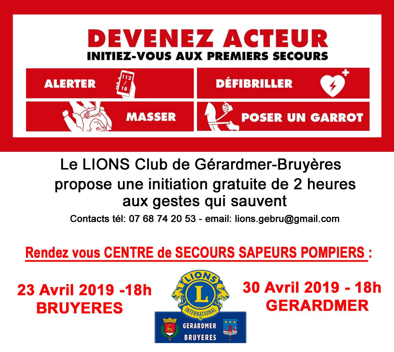 Information « GESTES QUI SAUVENT » avec le Lions Club
