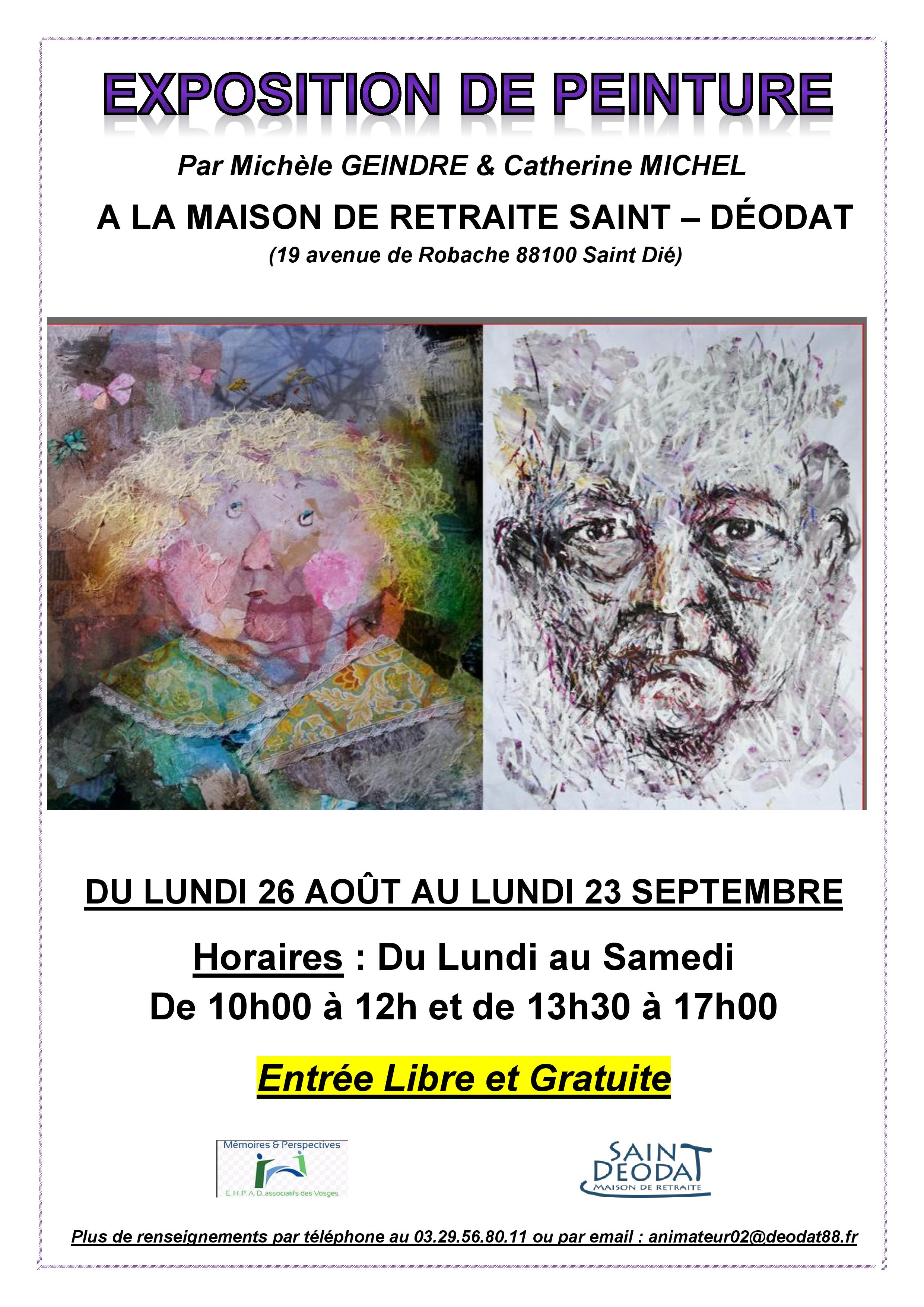 Michèle Geindre et Catherine Michel exposeront prochainement à l'EHPAD Saint-Déodat