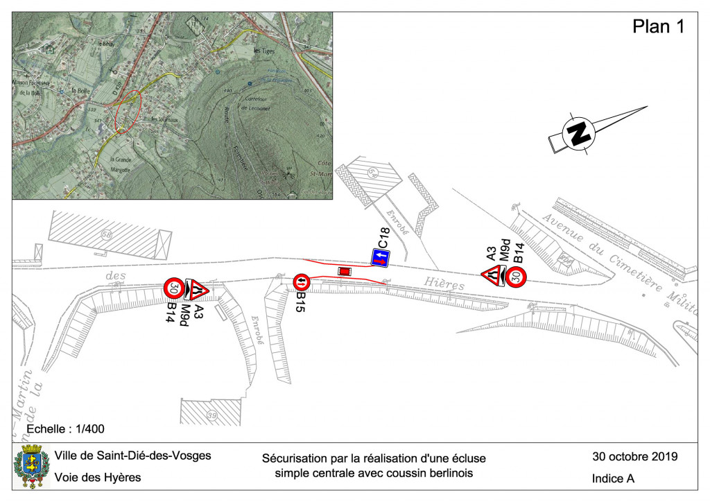 Plan 1 - Voie des Hyères avec geoportail - Ecluse