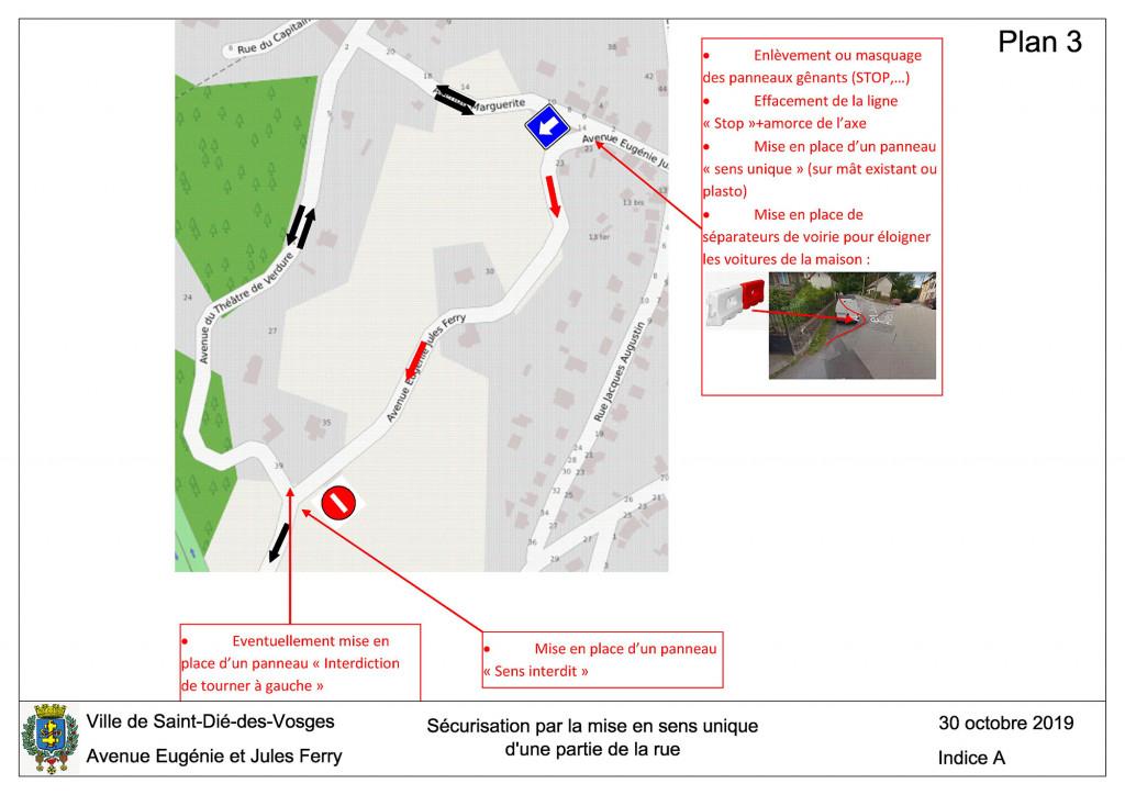 Plan 3 - Avenue Eugénie et Jules Ferry (sens unique)