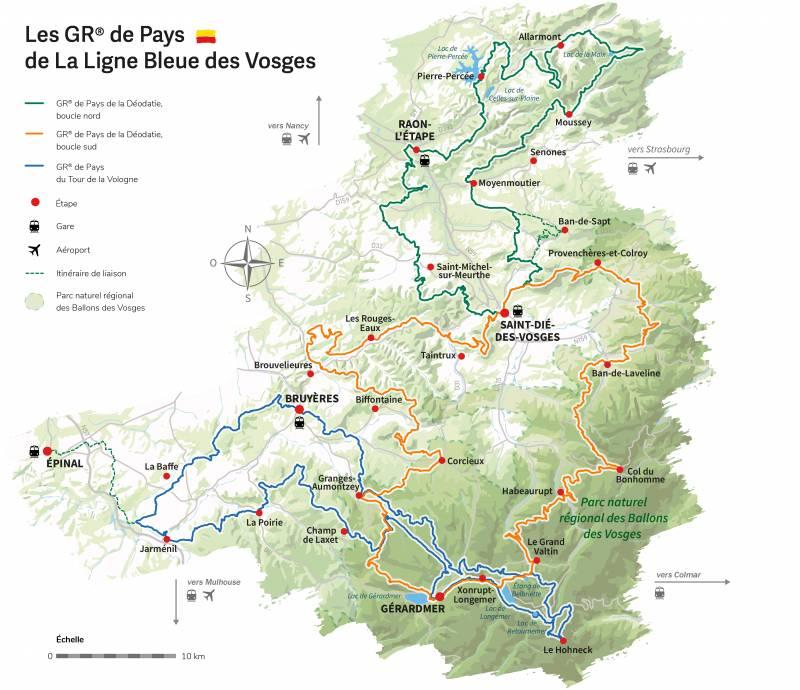 Carte des 3 GR® de Pays des Grandes Échappées Vosgiennes_@ Pays de la Déodatie