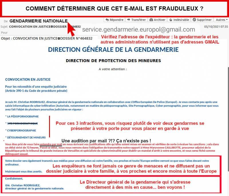 Escroquerie_Mail_Gendarmerie